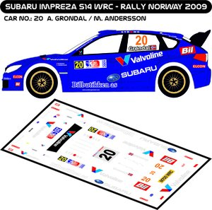 Dekaler Subaru Impreza WRC S14 Gröndal-Andersson Rally Norway 2009